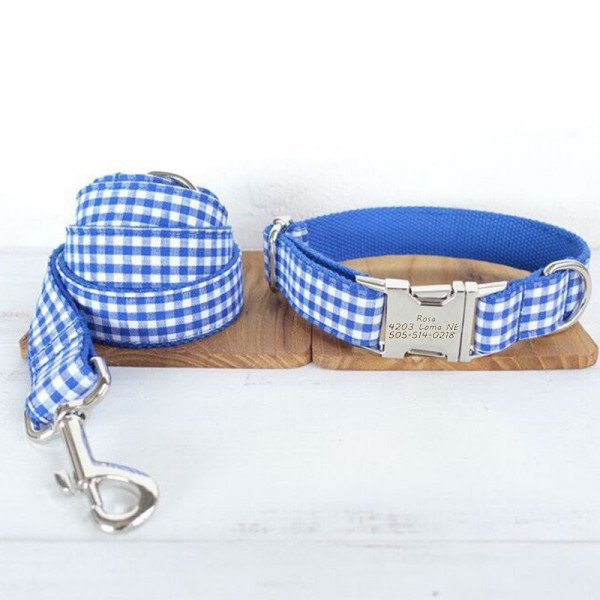 Blue Stripe Dog Collar Leash Set