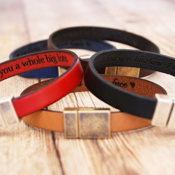 Personalized Mens Leather Bracelet
