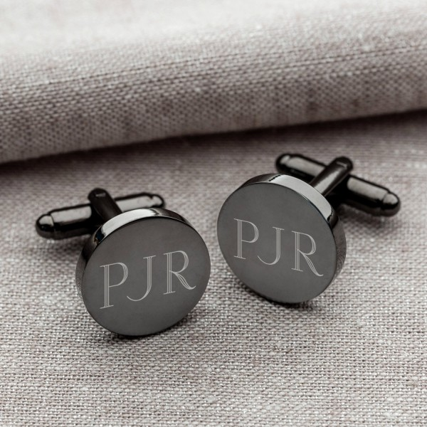 Personalized Round Gunmetal Cufflinks