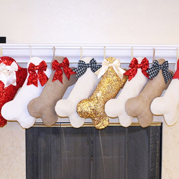 Dog Stocking Gold Sequins with White Satin Bow