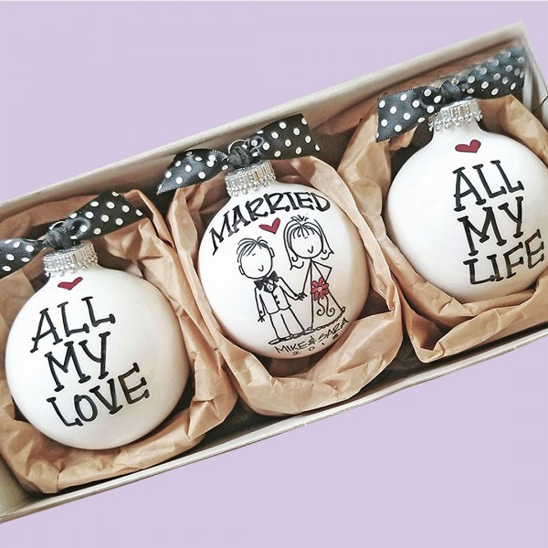 Christmas Married Engaged ORNAMENT SET