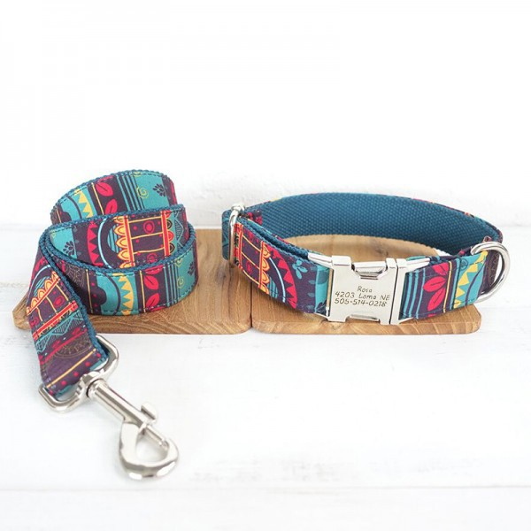 Maya Design Dog Collar Leash Set