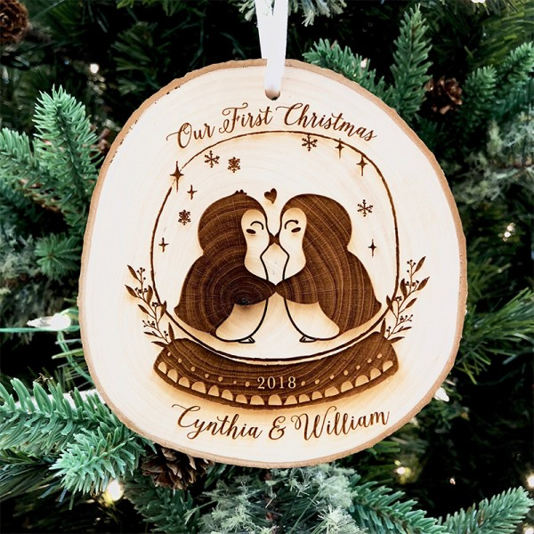 Wood Slice Penguin Ornament For Couple