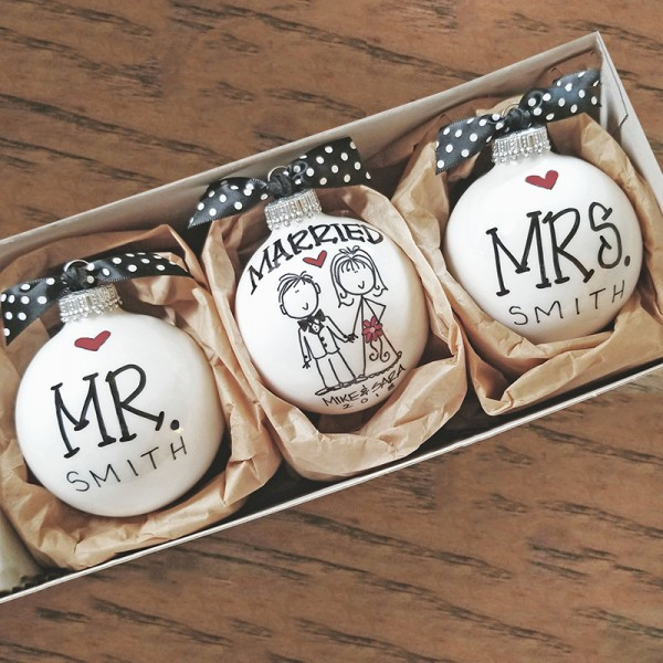 MR.& MRS. WEDDING ORNAMENT SET