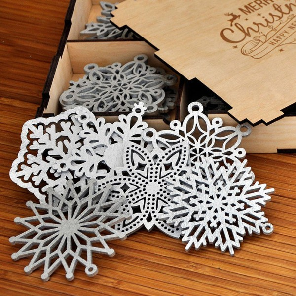 Wooden Christmas Snowflake Ornaments