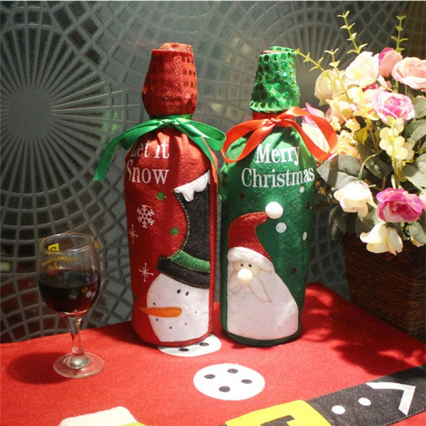 Christmas Gift Winebottle Embroidery GiftWrapping Bag