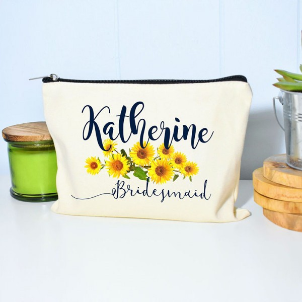 Personalized Sunflower Bridesmaid Makeup Bag