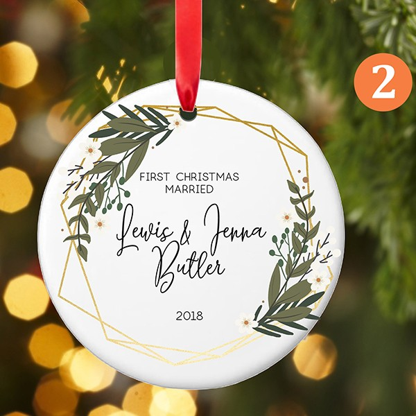 Personalized First Christmas as MR and MRS Ornament