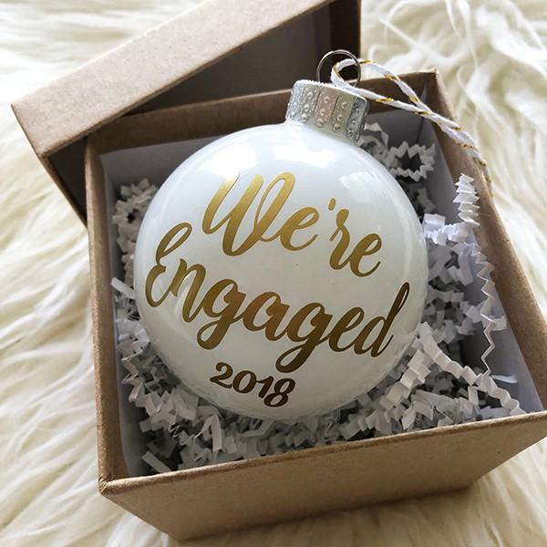 Engagement White Christmas Ornamen