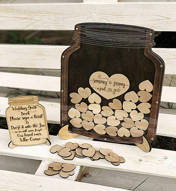 Wooden Heart Frame Wedding Guest Book