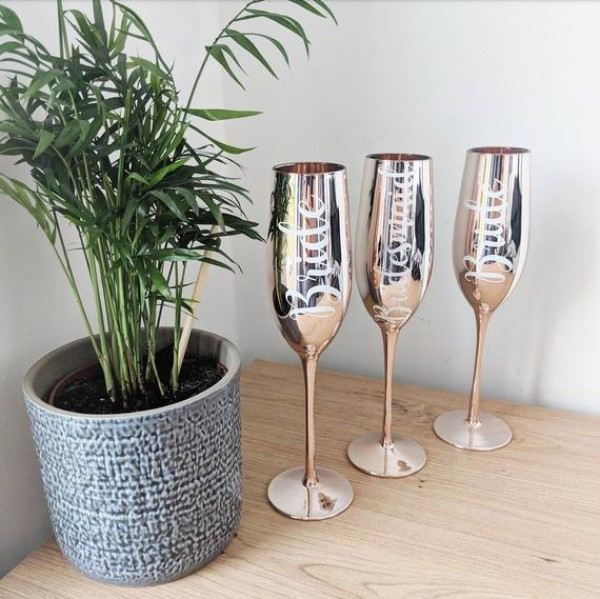 Personalized  Metallic Champagne Flutes