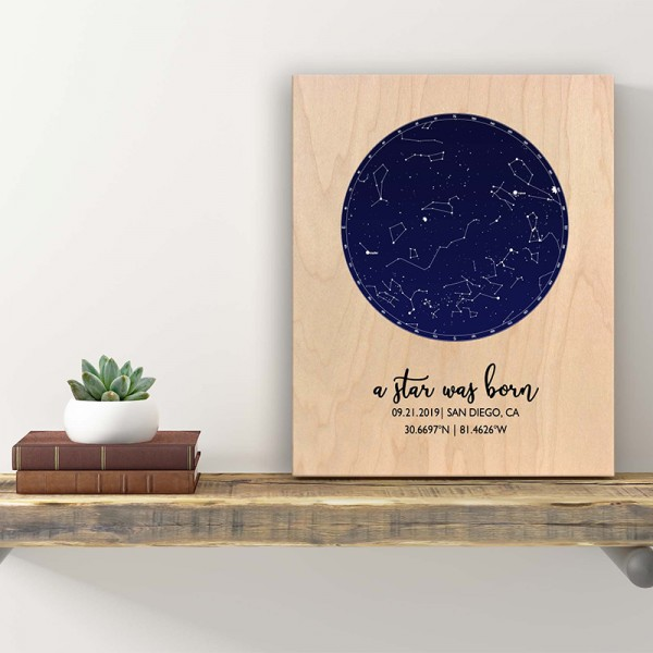 Wood Star Map Baptism Gift