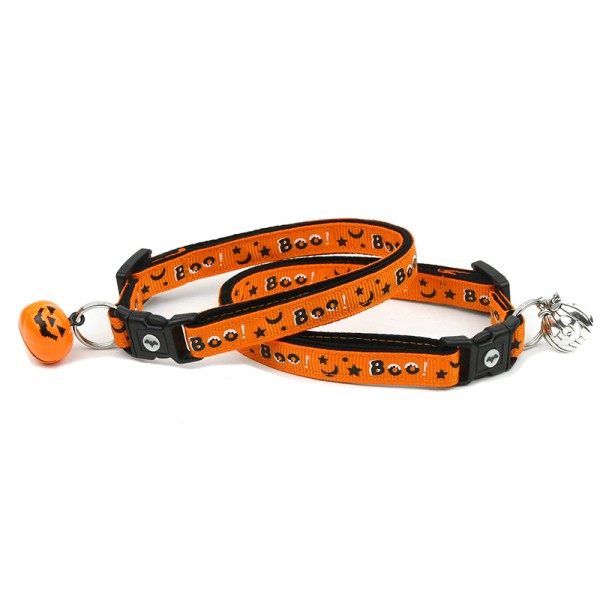 Halloween Cat Collar - Boo - Large Size or Small Cat Size