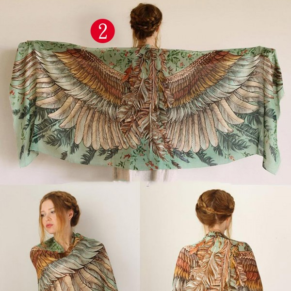 Lovingly Hand Painted Wings Shawl