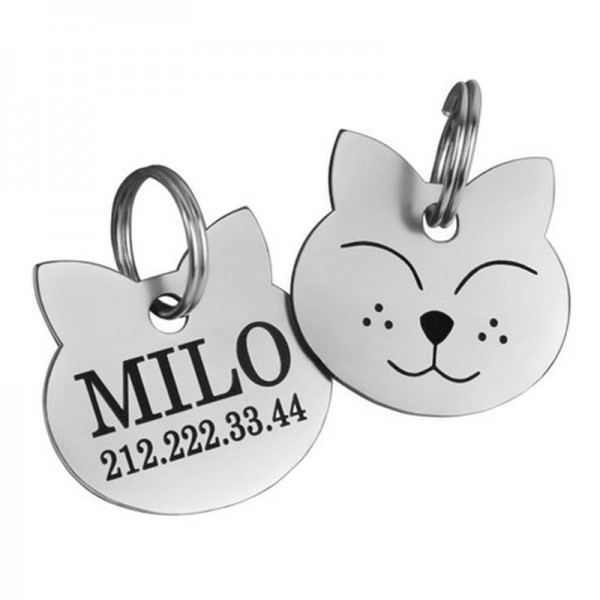 Smiling Face Cat ID Tag