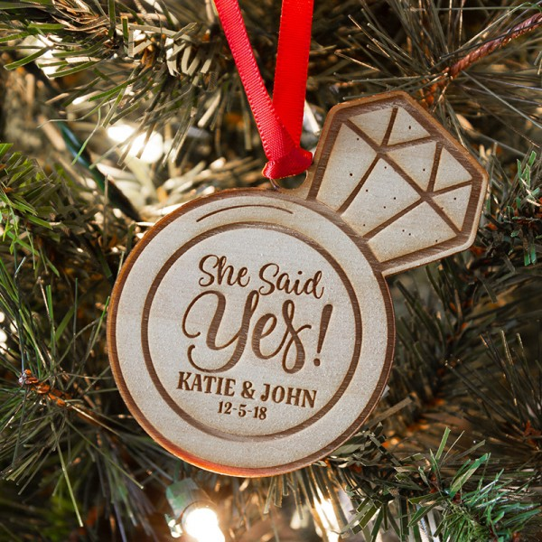 She Said Yes Engagement Ornament