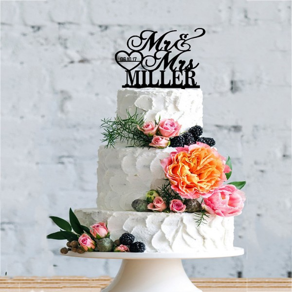 Personalized Mr & Mrs Last Name- Wedding Cake Topper