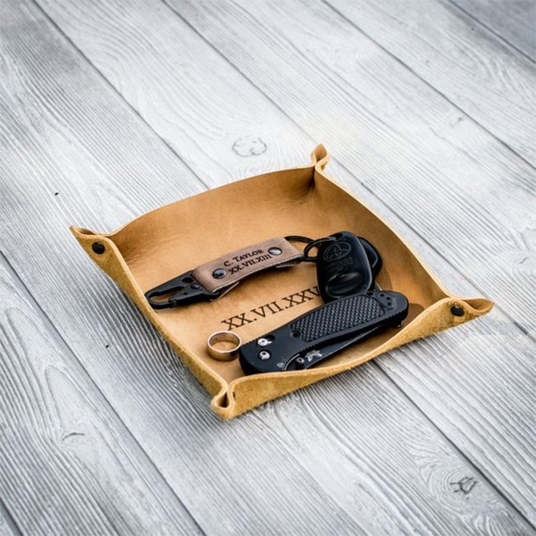 Collapsible Leather Valet Tray