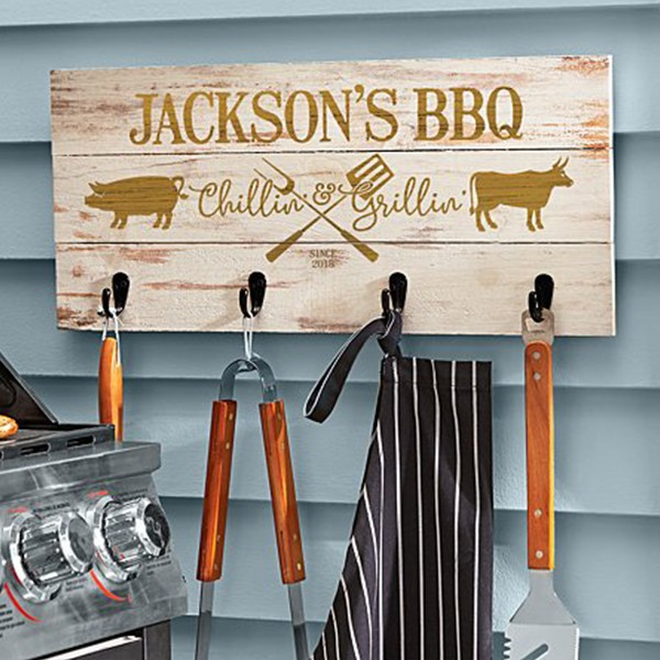 Personalized BBQ Wood Tool Rack