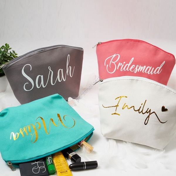 Personalized Bridesmaid Make Up Bags