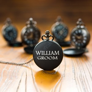 Personalized Black Pocket watch