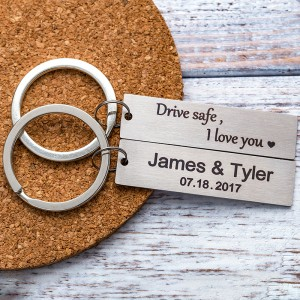 Personalized silver rectangle Keychain