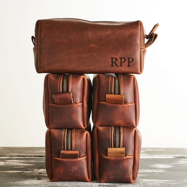 Engraved Leather Toiletry Bag