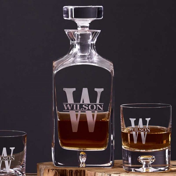 Custom Crystal Whiskey Decanter Set