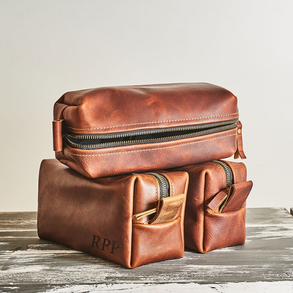 Personalized Leather Mens Toiletry Bag