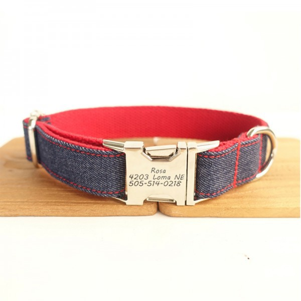 Red Jeans Dog Collar
