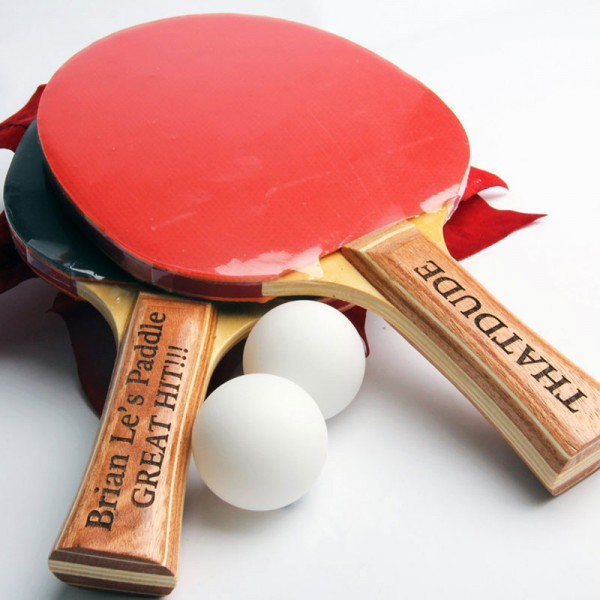 Black/Red Ping Pong Paddles with Engraved Handles