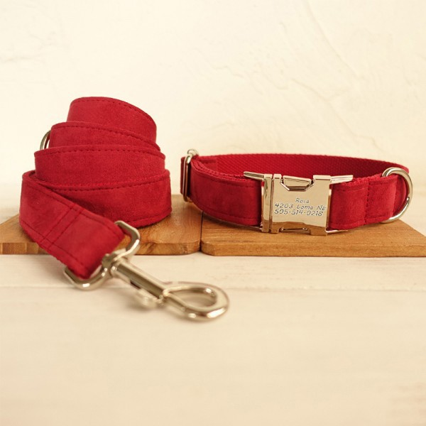 Red Bride Dog Collar Leash Set