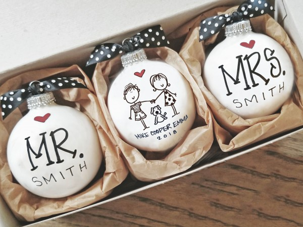 Personalized Couple with Dog Ornament
