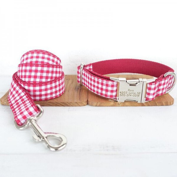 Red Stripe Dog Collar Leash Set