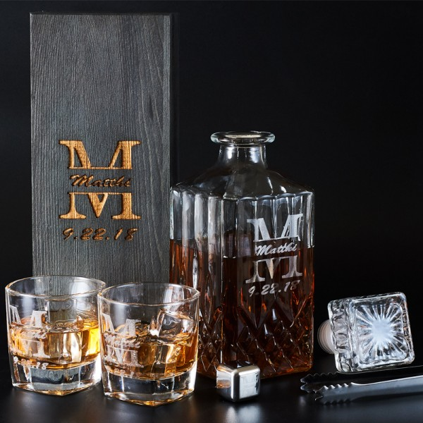 Engraved Liquor Decanter Set