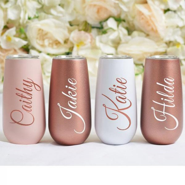 Personalized Bridesmaid Champagne Flutes