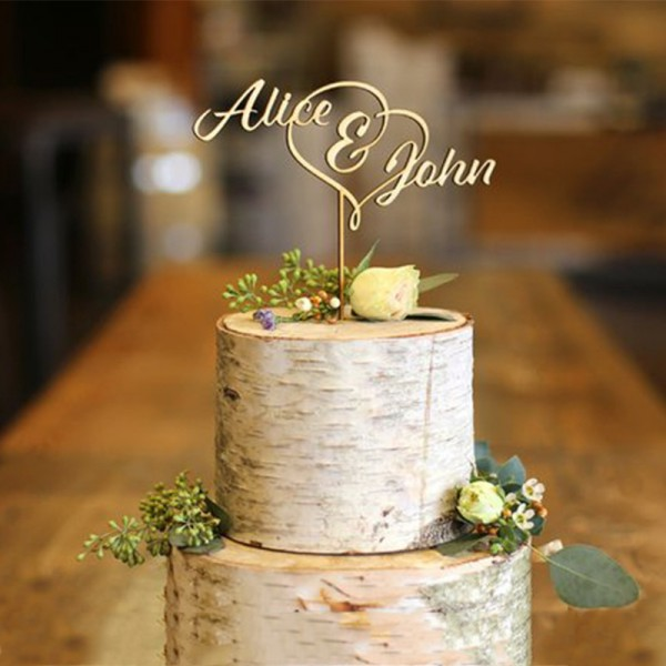 First Names Wood Cake Topper-Wedding Cake Topper