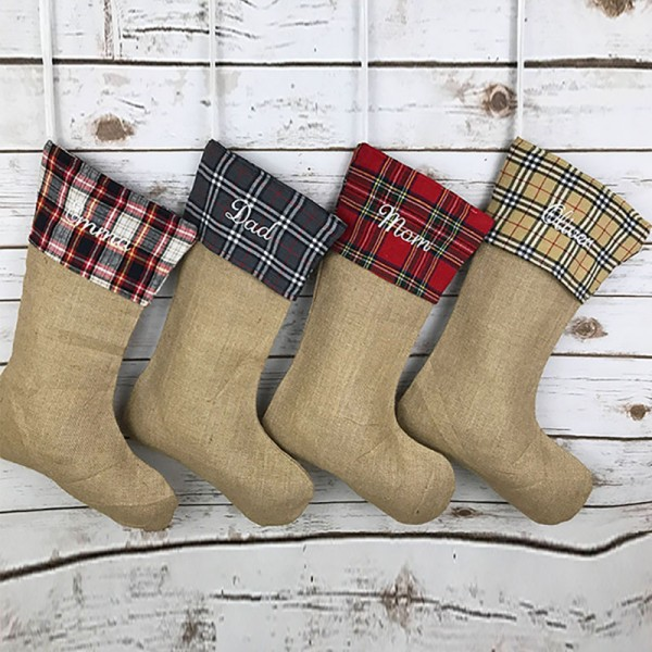 Plaid Burlap Family Stocking