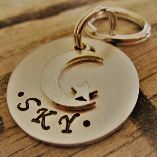 Moon and Star Dog Tag