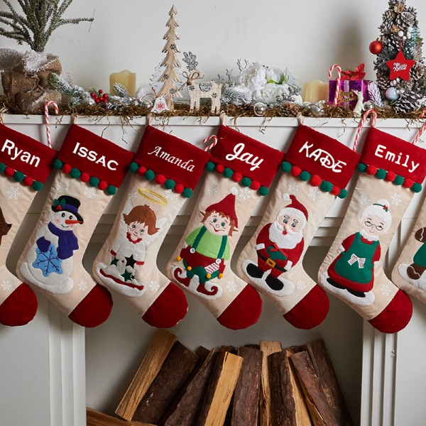 Embroidered Christmas Family Stocking