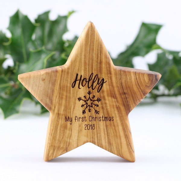 Personalised Christmas Olive Star Decoration