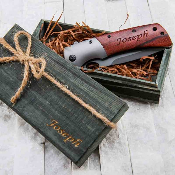 Big Wooden Hunting Pocket Knife
