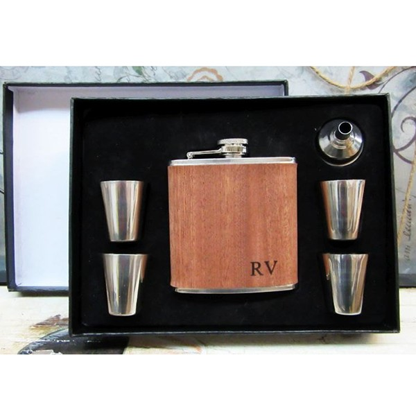 Personalized Wood Groomsmen Flask