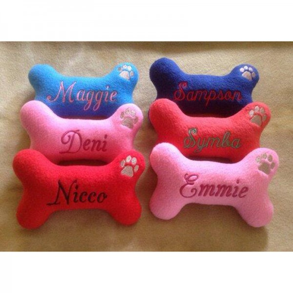 Personalized Dog Bone Shaped Dog Toy with Squeaker