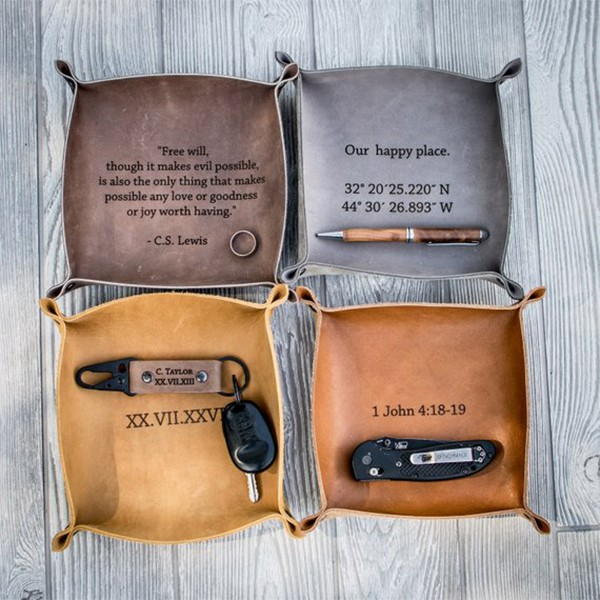 Personalized Collapsible Leather Valet Tray