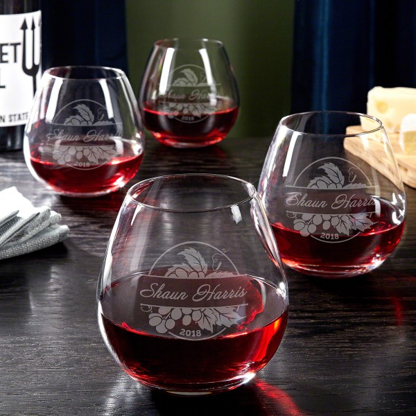 Custom Etched Wine Glasses